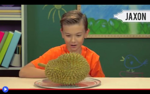 Kids with durian