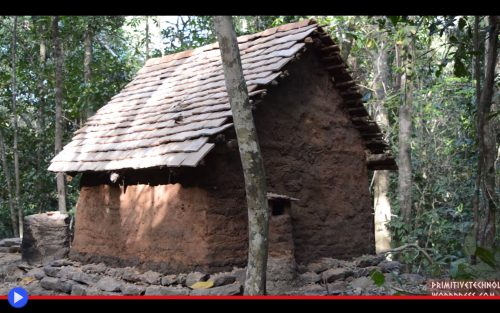 Primitive Technology Tiled Roof Hut